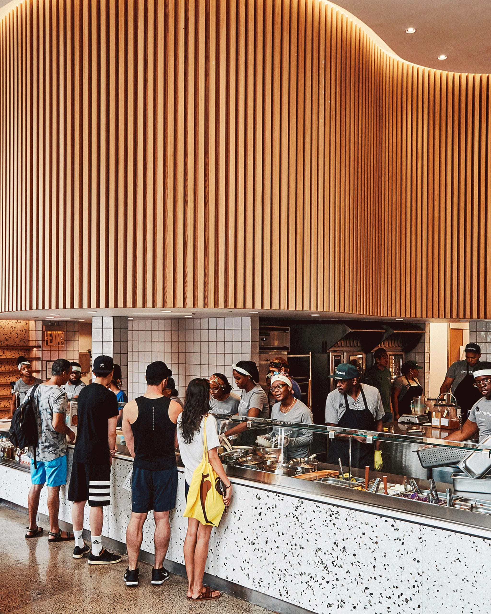 SoundPly Acoustic Ceiling Baffles at SweetGreen, Hudson Yards.