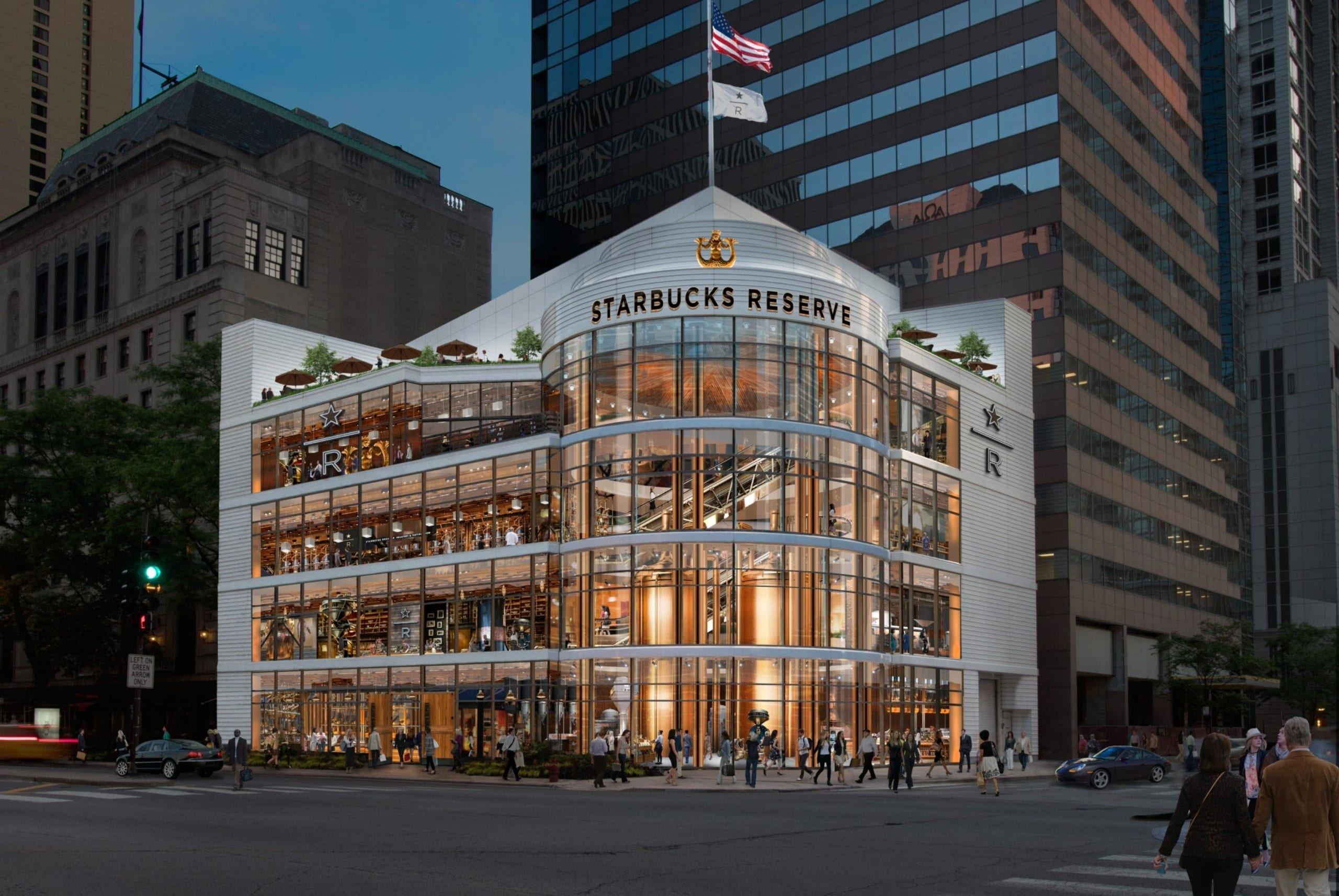 The 5 story Starbucks Roastery in Downtown Chicago